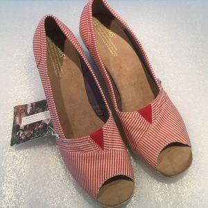 TOMS Red Stripe Calypso Espadrille Wedges